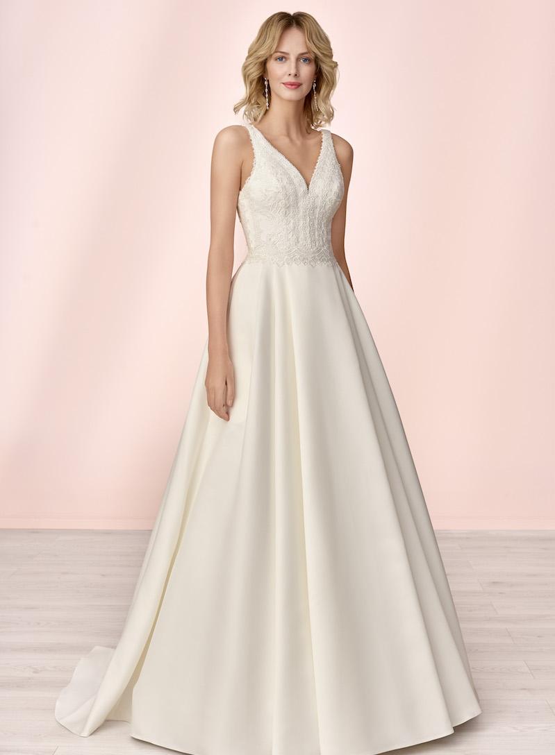 BH12 Brautkleid Ivory Satin ohne Schleppe